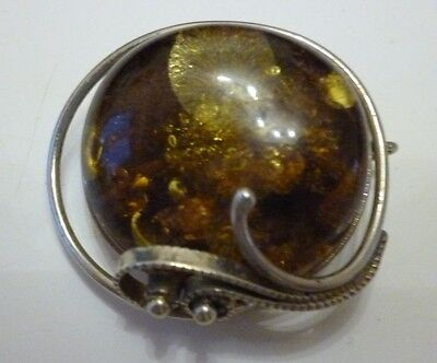 Broche argent et ambre, silver and amber fine brooch with its certificate