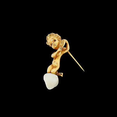 Vintage William Ruser Monday's Child 14k Gold Pin Brooch on Mississippi Pearl