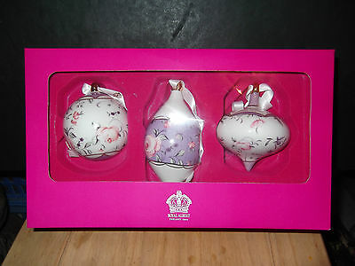 Royal Albert 3 Christmas Tree Hanging Baubles Pastel Purple Confetti Boxed
