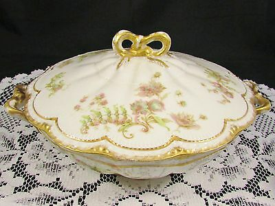 Rare Haviland Schleiger 235B Double Gold Round Covered Serving Dish