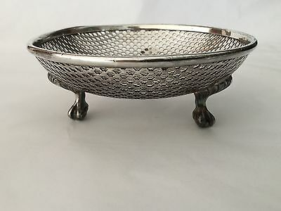 Antique silverplate ball and claw 3 footed open weave bowl dish