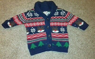 baby boy newborn christmas cardigan. up to 1 month. by f&f. vgc