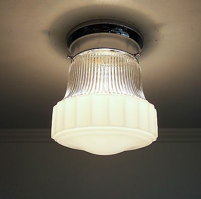 Vintage White & Clear Glass Ceiling Light Fixture With Chrome Kitchen Hall Entry