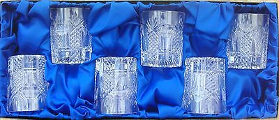 Brierley Hill Crystal Set Of Cut Glass Whisky Tumblers Boxed & Unused