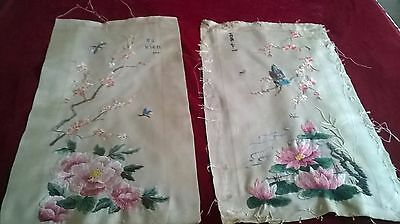 Beautiful Pair Of  Vintage Oriental Hand Embroidery Panels