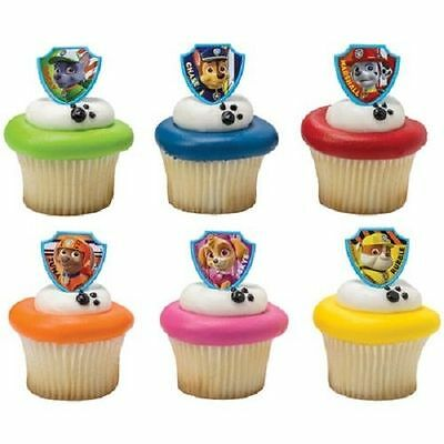 12 Paw Patrol Ruff Rescue Cupcake Rings Birthday Party Favors Cake Topper