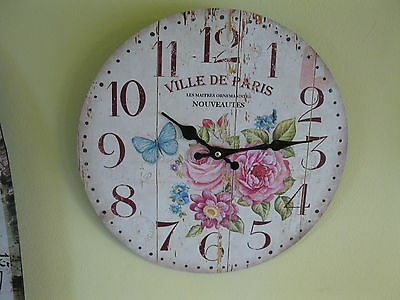 Large Wall Clock 34 cm Nostalgic Clock Antique style Roses Butterflies