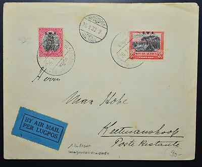 South West AFRICA 1932 RARE First Flight Cover Windhoek to Kimberley/ZAR,Namibia