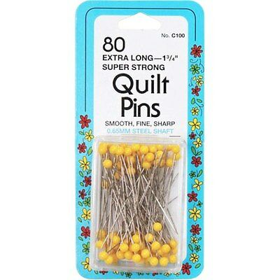 "Collins 80 Extra Long (1-3/4"") Super Strong Quilt Pins Yellow Ball Head"