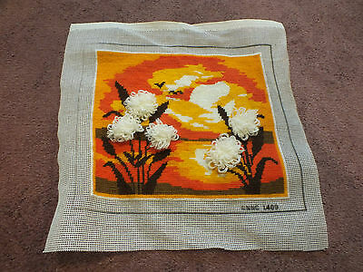 Needlepoint Sampler Complete Ready to Frame Or Face Pillow Sunset Flowers WOW
