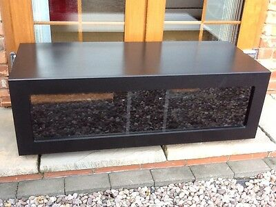 Alphason AmbriAB1100-B Tv Stand Cabinet Black With Glass Drop Front