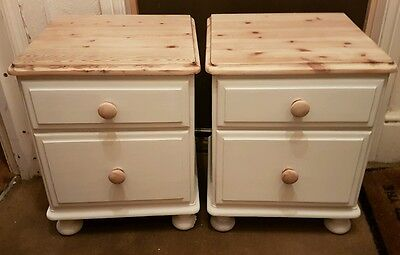 Matching Pair Solid Pine Bedside Cabinets 2 drawers Annie Sloan Shabby Chic
