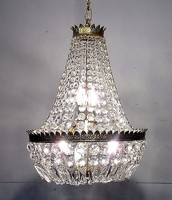 Antique Vintage Chandelier Basket Beaded  Light Fixture Lamp Restored REWIRED