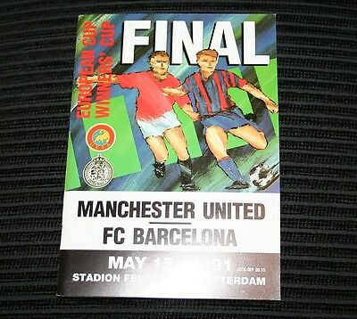 1991 European Cup Winners Cup Final Programme Manchester United V Barcelona