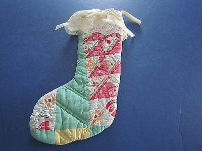 Vintage Antique Quilted CHRISTMAS STOCKING w/Antique Lace c1940's
