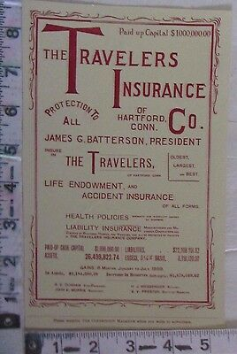 1900 Print Ad Travelers Insurance Co Assets Liabilities James Batterson  (N11)