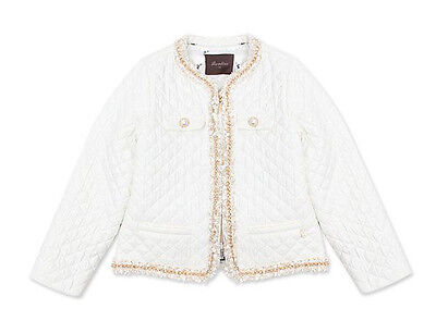 NEW Girl Quilted White Jacket Shrug Pearl Button Party Wedding Romany 2-3 YRS