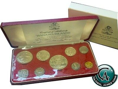 1973 Bahama Island 9-coin Proof Set with Original Packaing and COA
