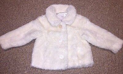 Stunning Next Girls Cream Ivory Faux Fur Coat Occasion Winter Wedding Age 2-3