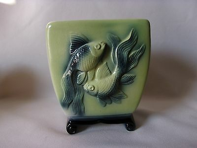 Royal Copley Oriental Fish Footed Planter Vase Mid Century Chartreuse