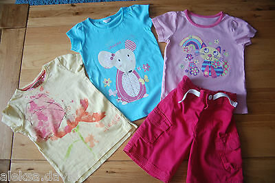NEXT etc girls 2-3 years SUMMER SET/BUNDLE*3 TOPS*SHORTS *PINK! *BUTTERFLY