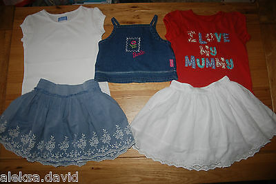 NEXT etc girls 3-4 years SUMMER SET/BUNDLE*3 TOPS* 2 EMBROIDERED SKIRTS RED/BLUE