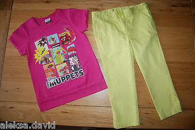 NEXT etc 8-9 years girls PINK MUPPETS TOP*CROPPED GREEN TROUSERS SET/BUNDLE