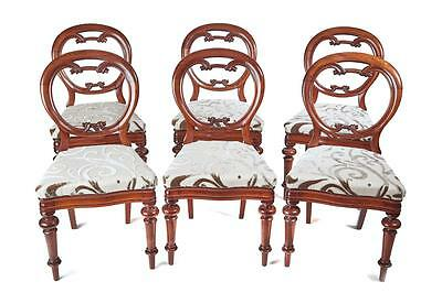 Set Of 6 19Th Century Balloon Back Victorian Mahogany Dining Chairs
