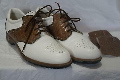 Walter Genuin Italian Ladies Golf Shoes  £200 White/brown Eu39 Uk6  *ak