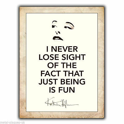 """METAL SIGN WALL PLAQUE KATHARINE HEPBURN """"NEVER LOSE SIGHT"""" Quote print poster"""
