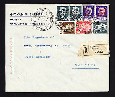 RSI Italian Italy stamps on 1944 registered cover from Modena to Bologna R-Brief