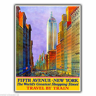 FIFTH AVENUE NEW YORK Vintage Retro Advert METAL WALL SIGN PLAQUE poster print