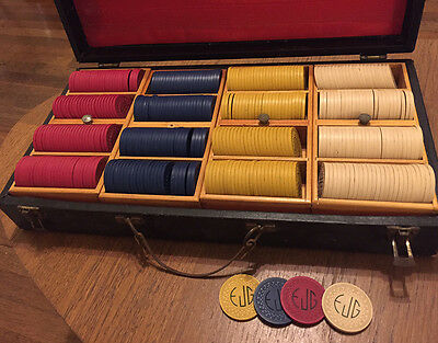 Set Of Old Gambling Poker Chips, Casino Chips, Illegal Set? Monogrammed Chips