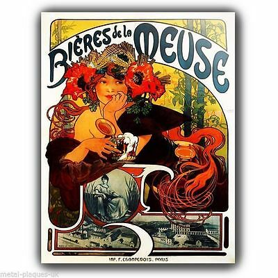 METAL WALL PLAQUE Alfons Alphonse Mucha BIERES VINTAGE SHABBY FRENCH poster ART