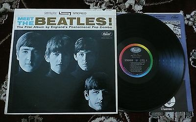 Beatles ORIG 1964 ' MEET THE BEATLES ' STEREO LP! W / O PUB. CREDITS! VG+ / VG+