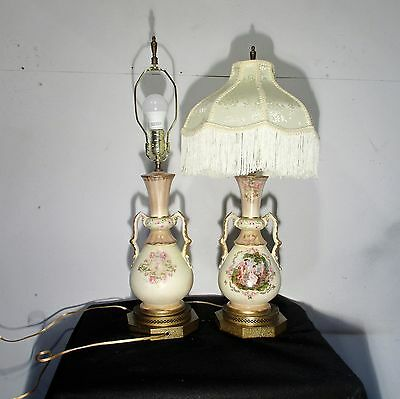 Vintage Antique Lamps Pair Hand Painted Roman/Greek Women Fringed Shades