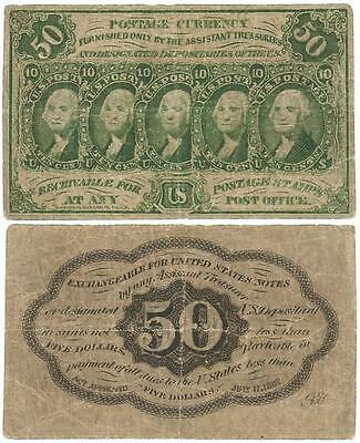 "1862 United States 50 CENT (50¢) Note ""POSTAGE CURRENCY"" First Issue, CIVIL WAR"