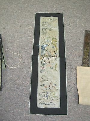 Fine Antique Asian Art Chinese Hand Stitch Embroidery Tapestry Panel Scene