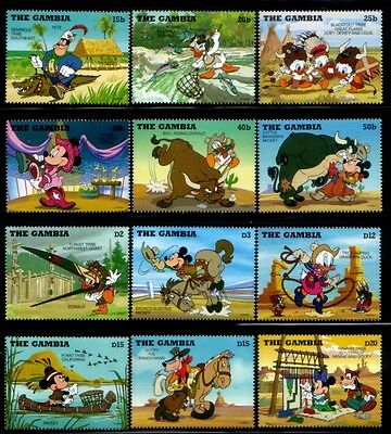 GAMBIA Disney in Wild West MNH set
