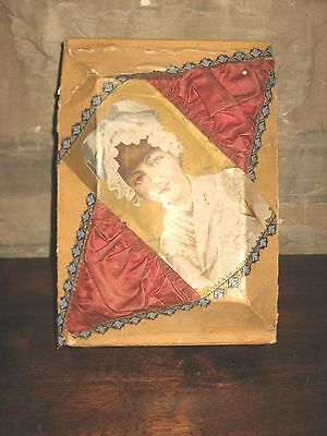 Antique Victorian Cardboard Trinket Souvenir Keepsake Folk Art Box Pin Cushion
