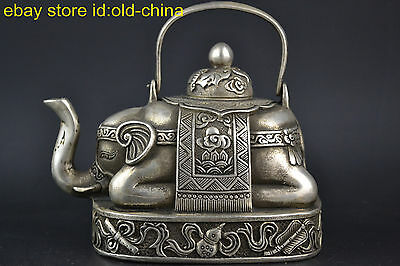 Collectible China Style Old Tibet Silver Elephant Noble Lucky Teapot Decor
