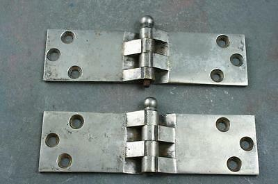Vintage 1940's Set of 2 Nickle Plated Brass Ice Box Refrigerator Hinges Hardware