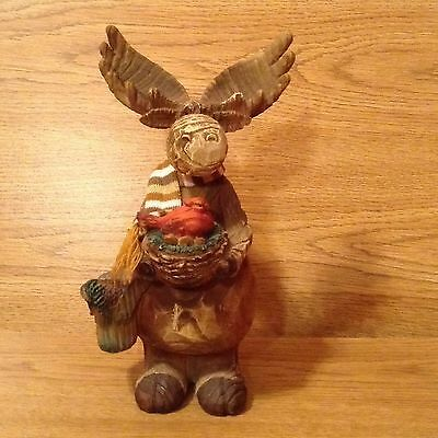 Resin Moose With Cardinal & Nest Looks Like Carved Wood