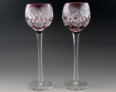"""Pair French St. Louis Florence Pattern Purple Cut Crystal Hock Wine Goblets 9.5"""""""