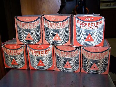 Lot of (7) Vintage Genuine Perfection Stove Wicks 331-X w/ Original Boxes ~ NOS