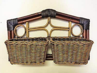 Bamboo Rattan Wicker Hanging Wall Basket Organizer Holder Remote Letter Towel