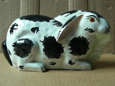 Large White & Black Porcelain Bunny Rabbit Figurine, Made In Italy