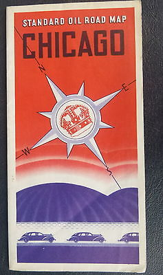 1936 Chicago Illinois road map Standard of Indiana  oil gas route 66 downtown st