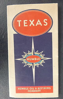 1937 1938 Texas road map Humble  oil gas pictorial