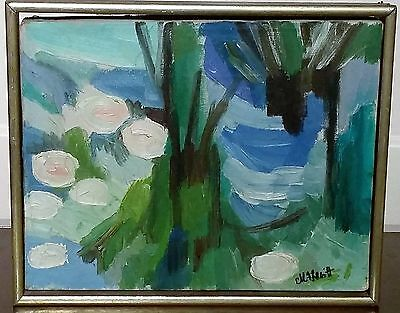 """**Signed M F Levitt NYC """"WATERLILIES"""" Original Abstract Oil Painting**"""